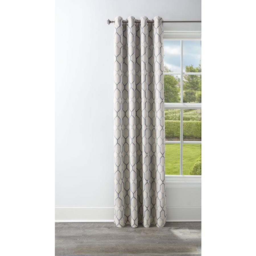 Style Selections Amhurst 95-in Ash Polyester Grommet Blackout Thermal Lined Single Curtain Panel
