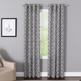 LIVING LOGIC 84-in Charcoal Polyester Light Filtering Grommet Single Curtain Panel