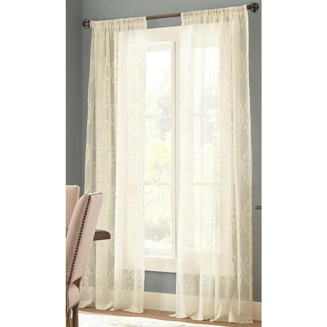 Allen Roth Madi 84 In Ivory Polyester Sheer Single Curtain Panel In The Curtains Drapes Department At Lowes Com
