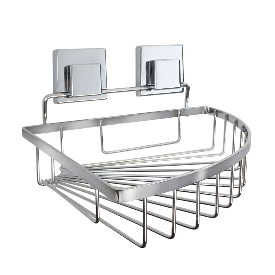 Ginsey 5.125 In H Suction Cup Steel Chrome Hanging Shower Caddy