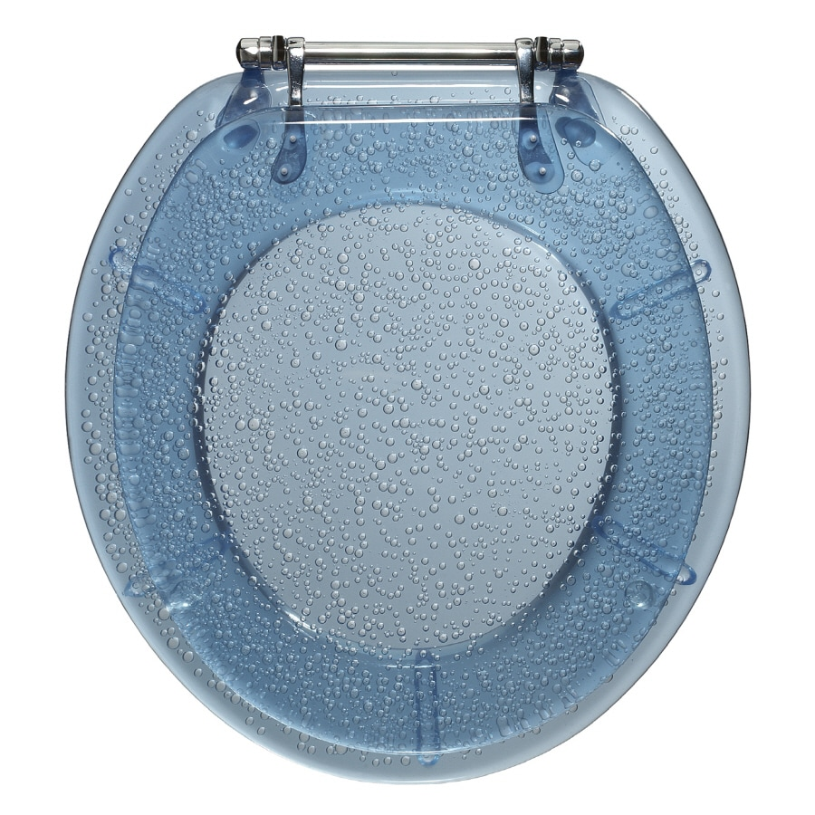 Portfolio Blue Bubble Plastic Round Toilet Seat At Lowes Com