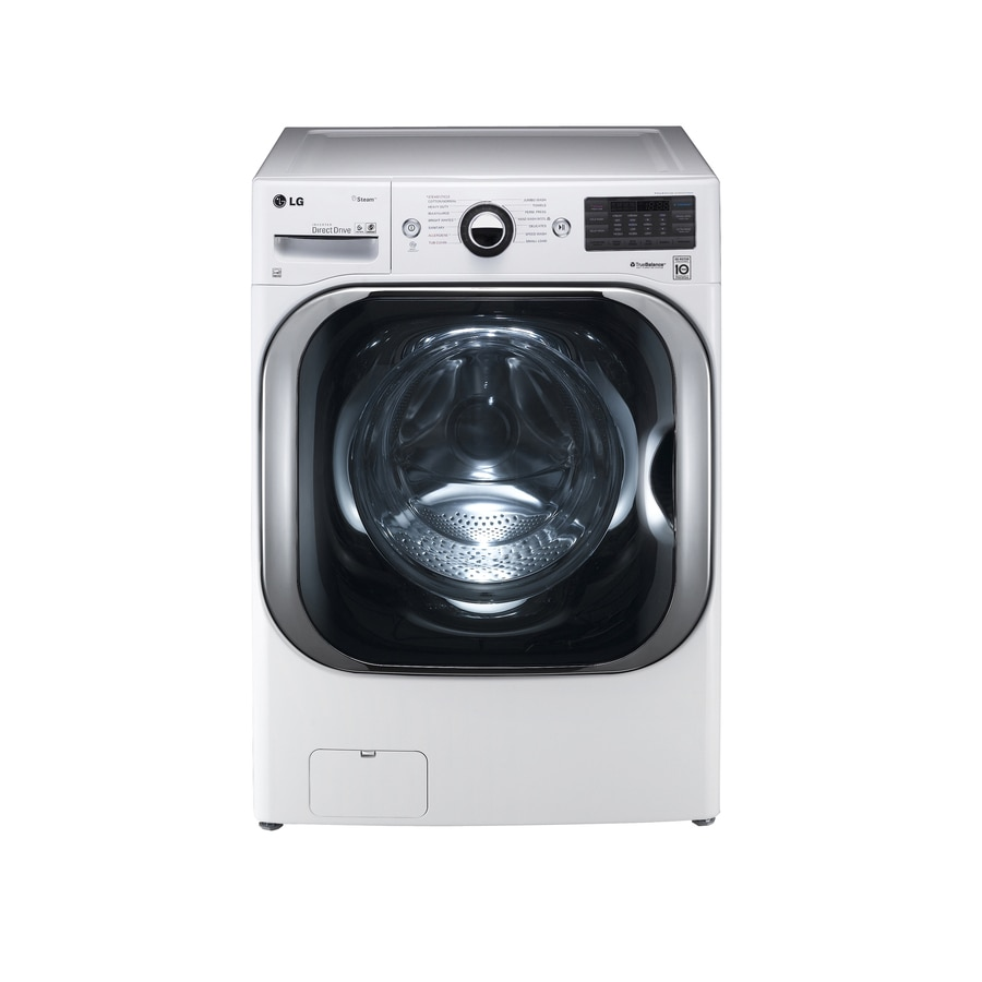 LG TWINWash Compatible 5.2-cu ft High-Efficiency Stackable Front-Load Washer with Steam Cycle (White) ENERGY STAR