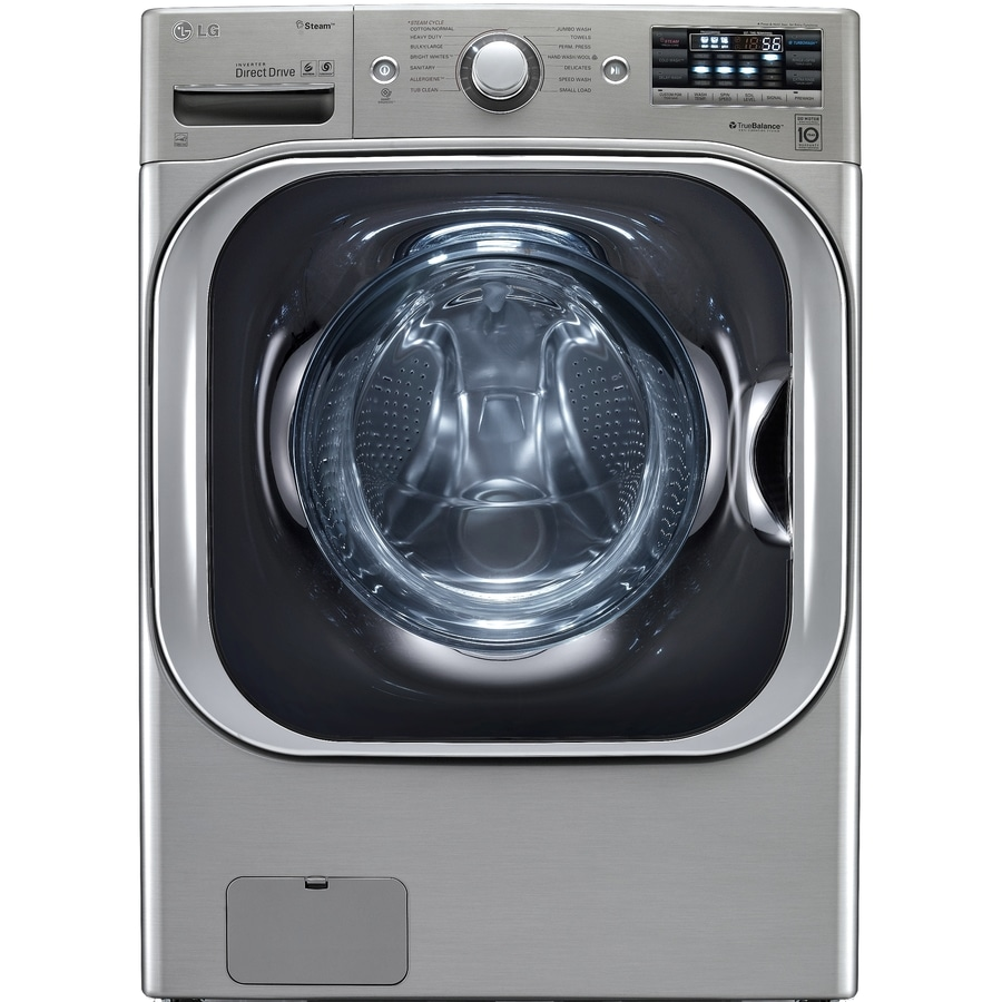 LG TWINWash Compatible 5.2-cu ft High-Efficiency Stackable Front-Load Washer (Graphite Steel) ENERGY STAR