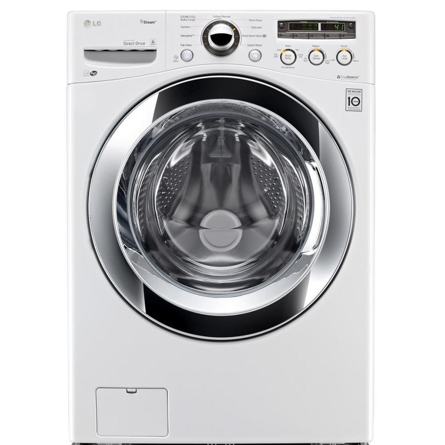 LG 4-cu ft High-Efficiency Stackable Front-Load Washer with Steam Cycle (White) ENERGY STAR