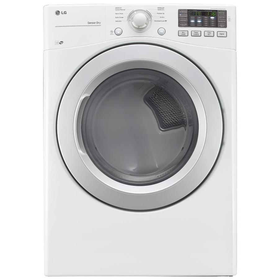 LG 7.4-cu ft Stackable Electric Dryer (White) ENERGY STAR