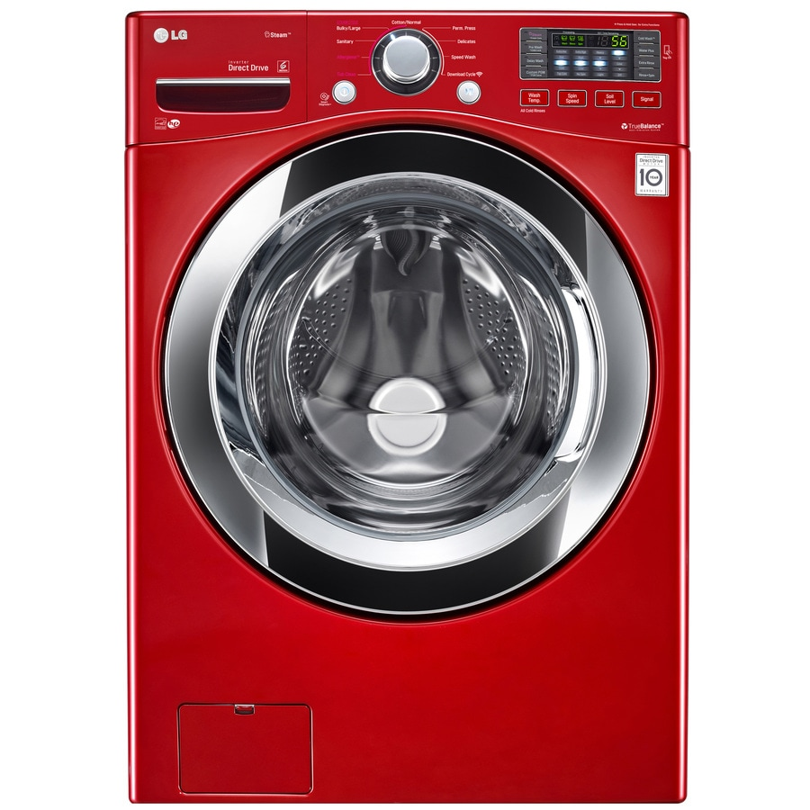 LG 4.3-cu ft High-Efficiency Stackable Front-Load Washer with Steam Cycle (Wild Cherry Red) ENERGY STAR