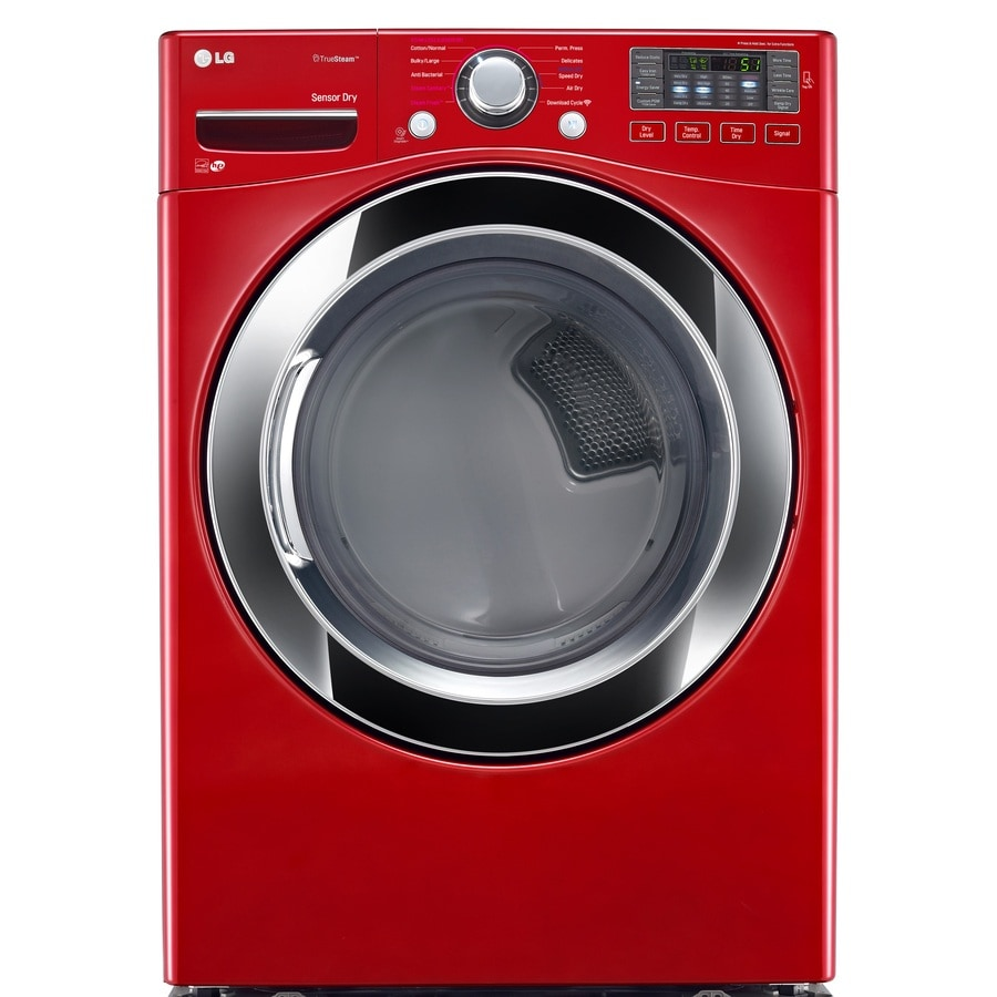 LG 7 4-cu ft Stackable Electric Dryer (Wild Cherry Red