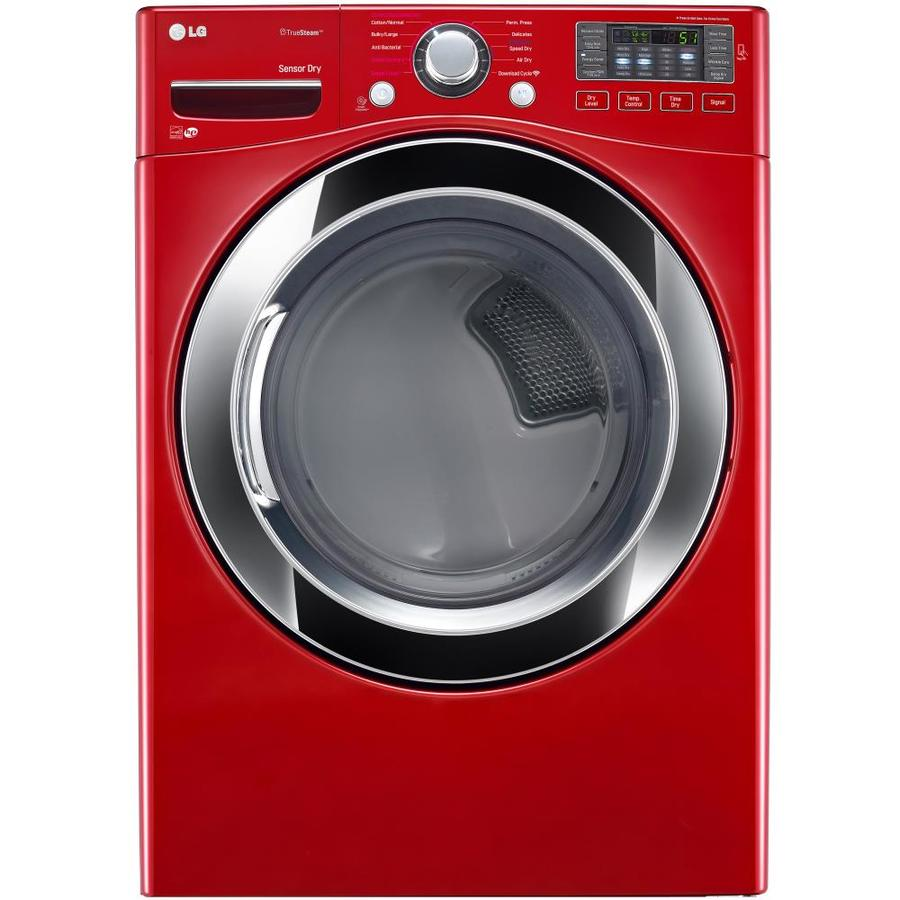 LG 7.4-cu ft Stackable Gas Dryer with Steam Cycle (Wild Cherry Red) ENERGY STAR