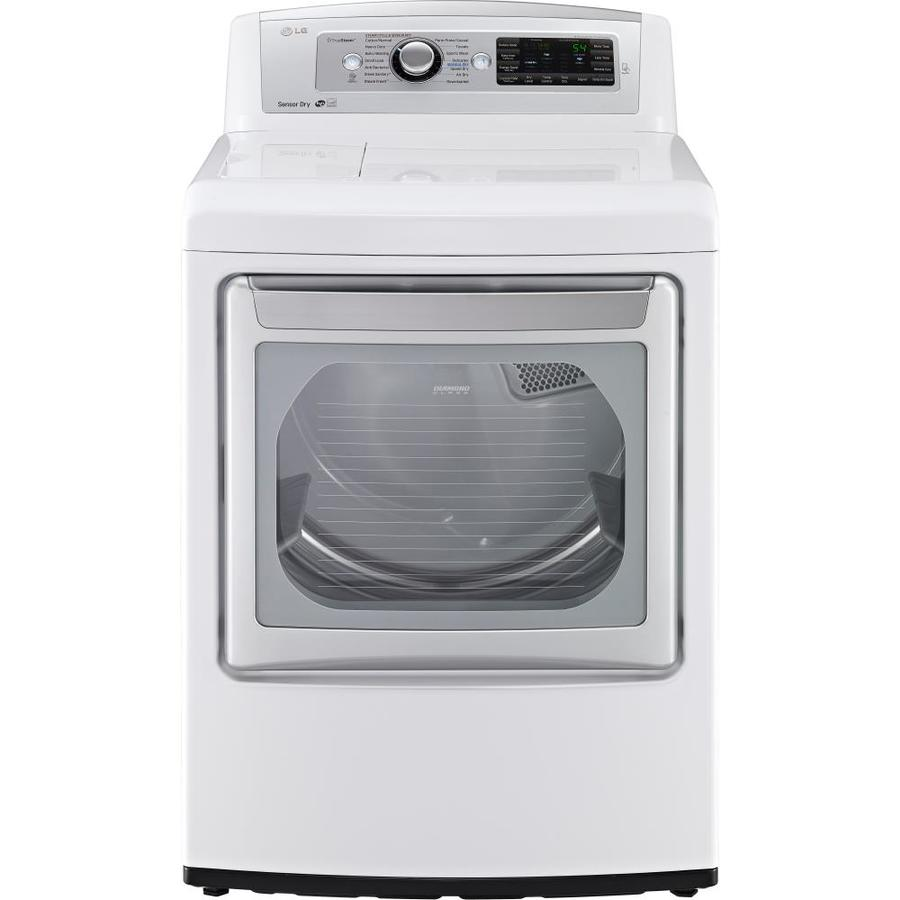 LG EasyLoad 7.3-cu ft Electric Dryer with Steam Cycle (White) ENERGY STAR