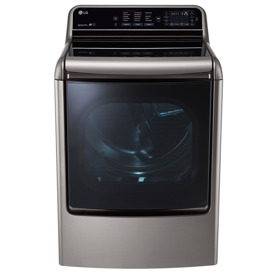 LG Turbowith Steam; 9-cu ft Gas Dryer with Steam Cycle (Graphite Steel)