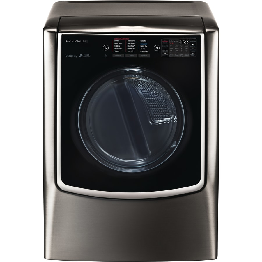 LG SIGNATURE 9-cu ft Gas Dryer with Steam Cycle (Black Stainless Steel)
