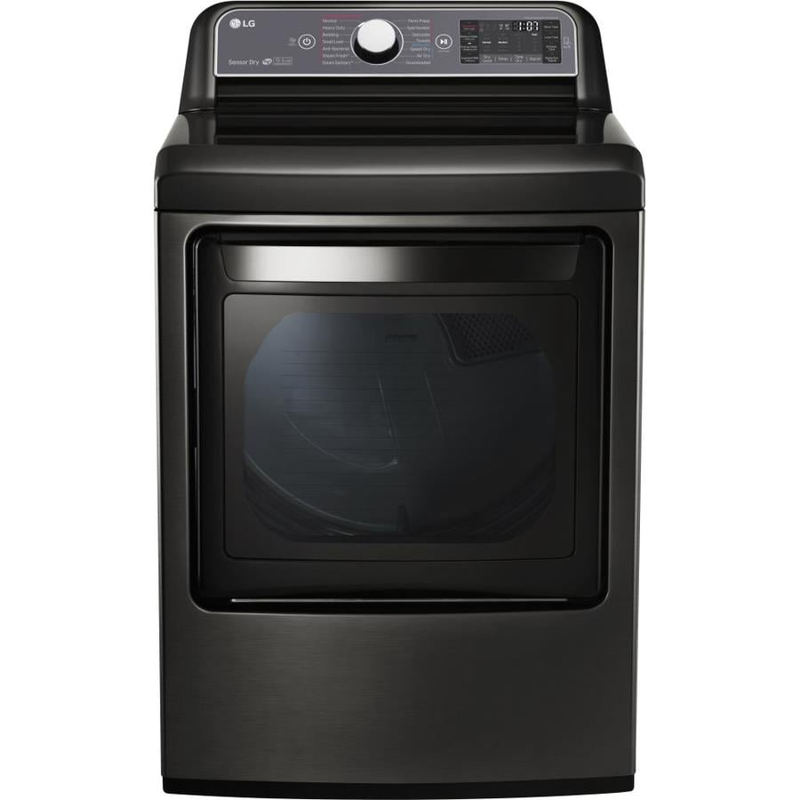 LG 7.3-cu ft Electric Dryer with Steam Cycle (Black Stainless Steel) ENERGY STAR