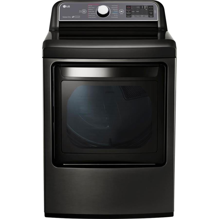 LG 7.3-cu ft Gas Dryer with Steam Cycle (Black Stainless Steel) ENERGY STAR
