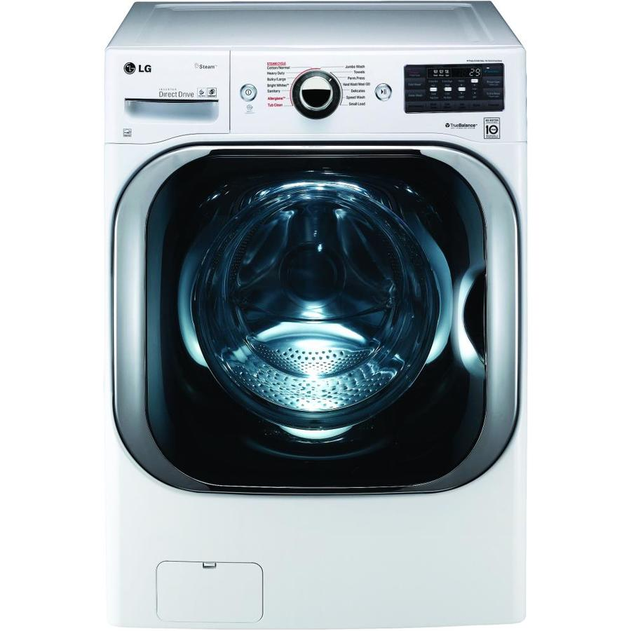 LG TWINWash Compatible 5.2-cu ft High-Efficiency Stackable Front-Load Washer (White) ENERGY STAR
