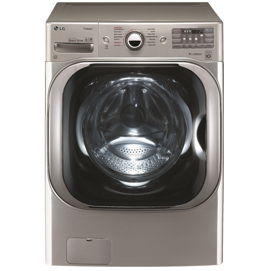 LG TWINWash Compatible 5.2-cu ft High-Efficiency Stackable Front-Load Washer with Steam Cycle (Graphite Steel) ENERGY STAR