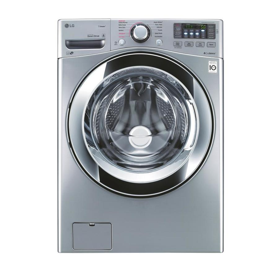 LG TWINWash Compatible 4.5-cu ft High-Efficiency Stackable Front-Load Washer Steam Cycle (Graphite Steel) ENERGY STAR