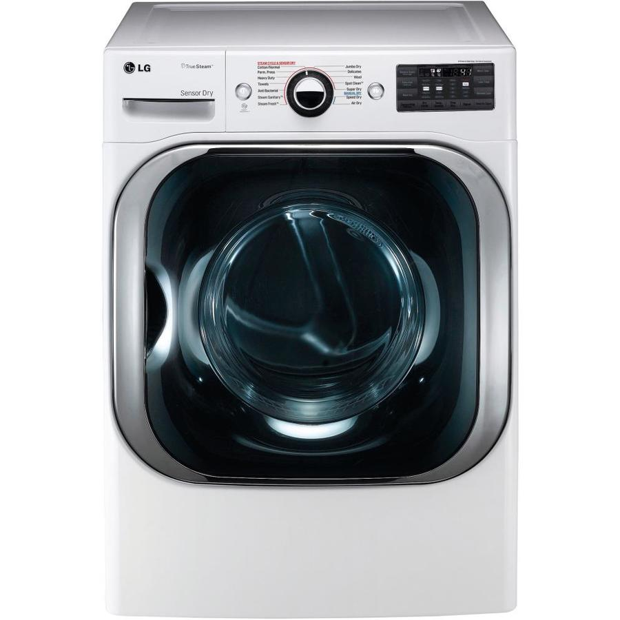 LG 9-cu ft Stackable Electric Dryer with Steam Cycle (White)