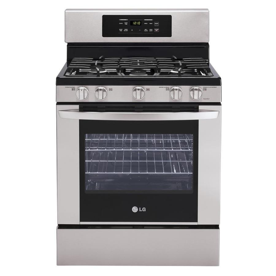 LG 5-Burner Freestanding 5.4-cu ft Self-Cleaning Gas Range (Stainless Steel) (Common: 30-in; Actual: 29.93-in)