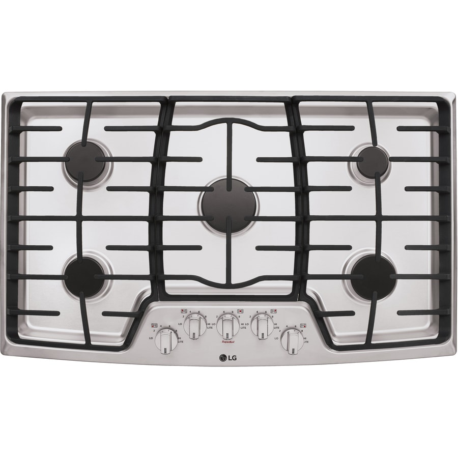 LG 5-Burner Gas Cooktop (Stainless Steel) (Common: 36-in; Actual: 36-in)