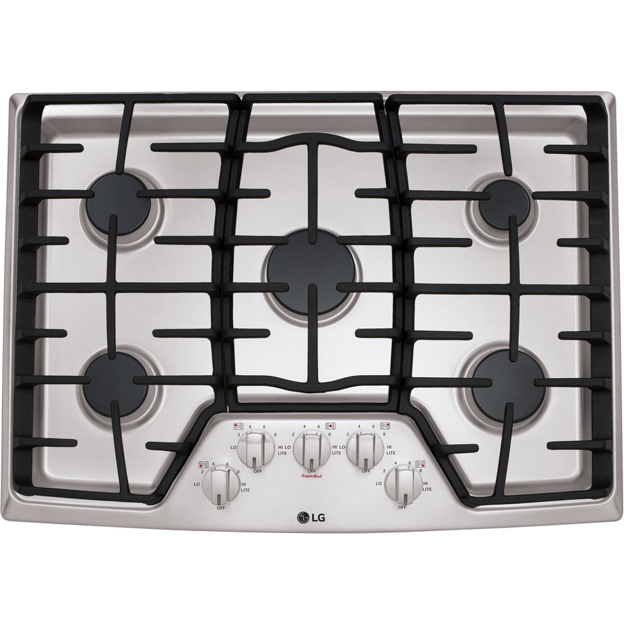 5 Burner Gas Cooktops: LG 30-in 5-Burner Stainless Steel Gas Cooktop (Common: 30