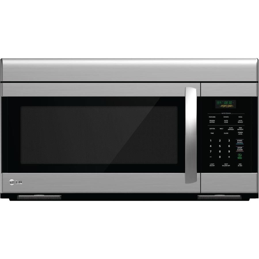 shop lg 1 6 cu ft over the range microwave stainless steel common 30 in actual. Black Bedroom Furniture Sets. Home Design Ideas