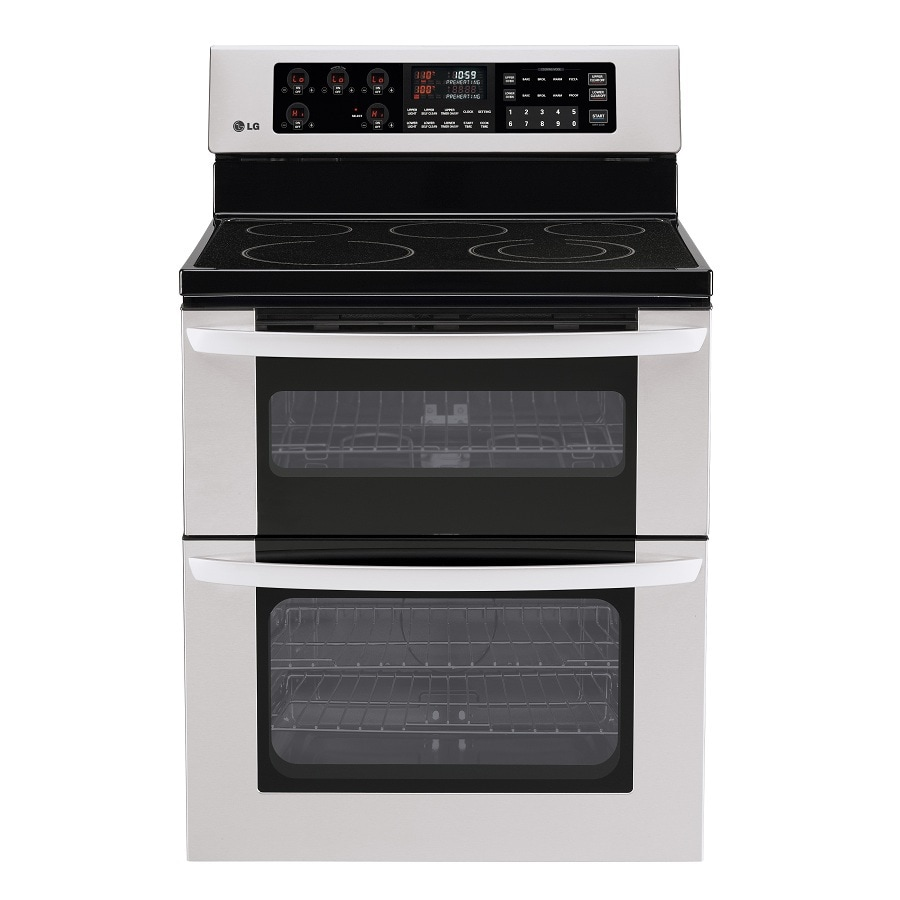 LG 30-in Smooth Surface 4.4-cu ft/2.3-cu ft Self-Cleaning Double Oven None Electric Range (Stainless Steel)