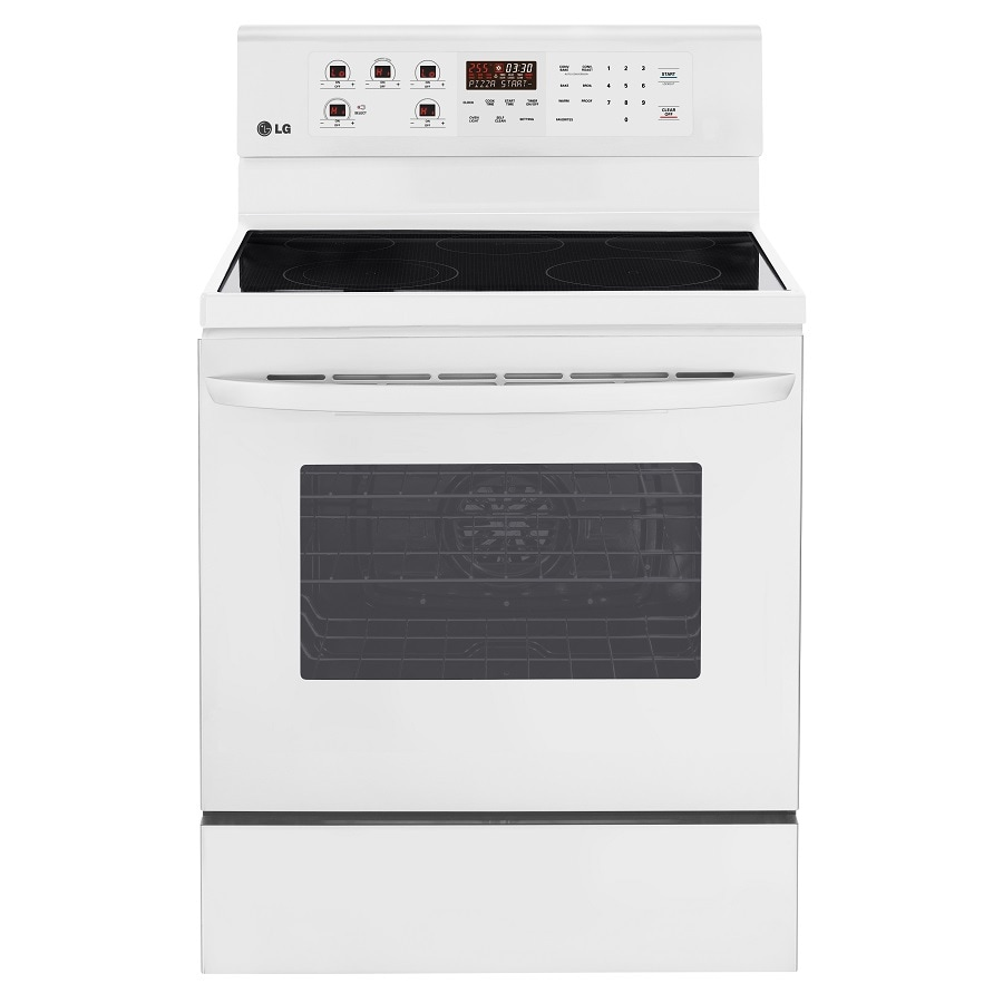 LG Smooth Surface Freestanding 5-Element 6.3-cu ft Self-Cleaning Convection Electric Range (Smooth White) (Common:; Actual: 29.87-in)