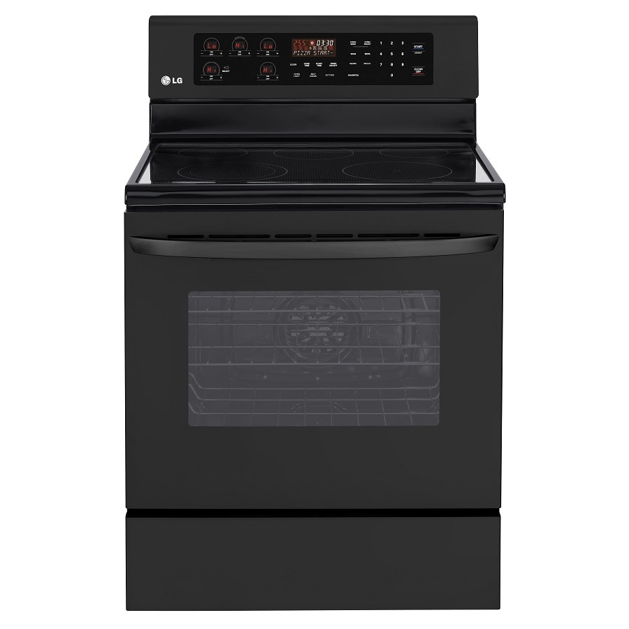 LG Smooth Surface Freestanding 5-Element 6.3-cu ft Self-Cleaning Convection Electric Range (Smooth Black) (Common:; Actual: 29.87-in)