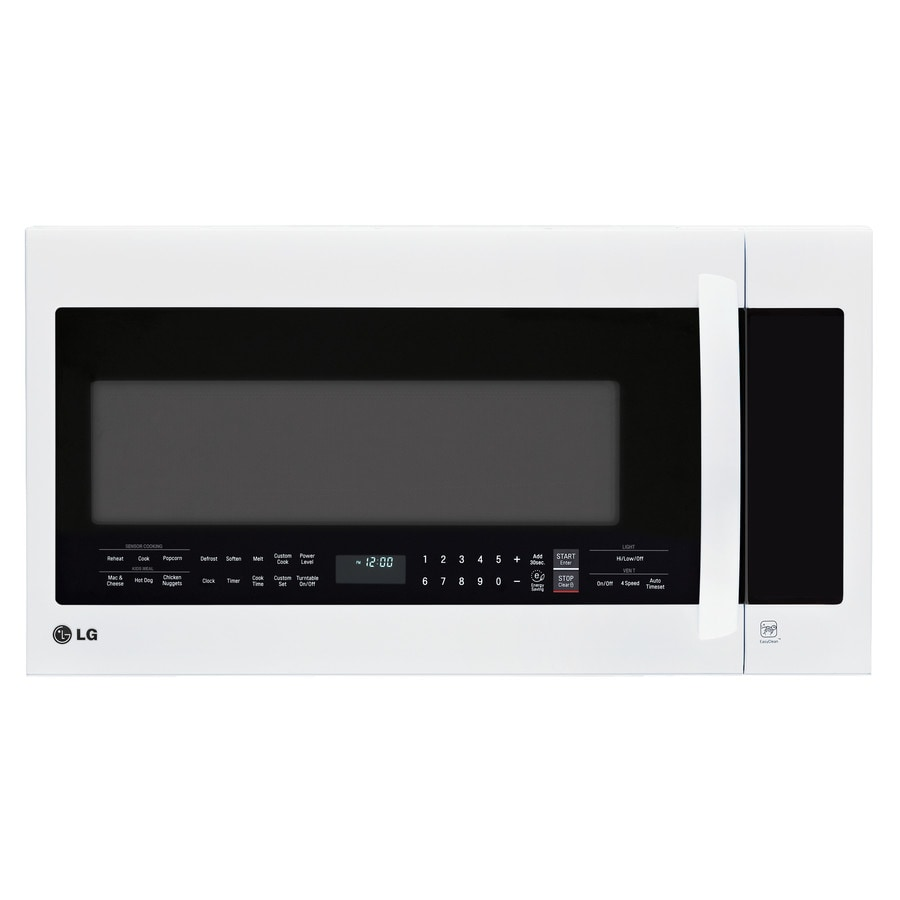 LG 2-cu ft Over-the-Range Microwave with Sensor Cooking Controls (Smooth White) (Common: 30-in; Actual: 29.875-in)