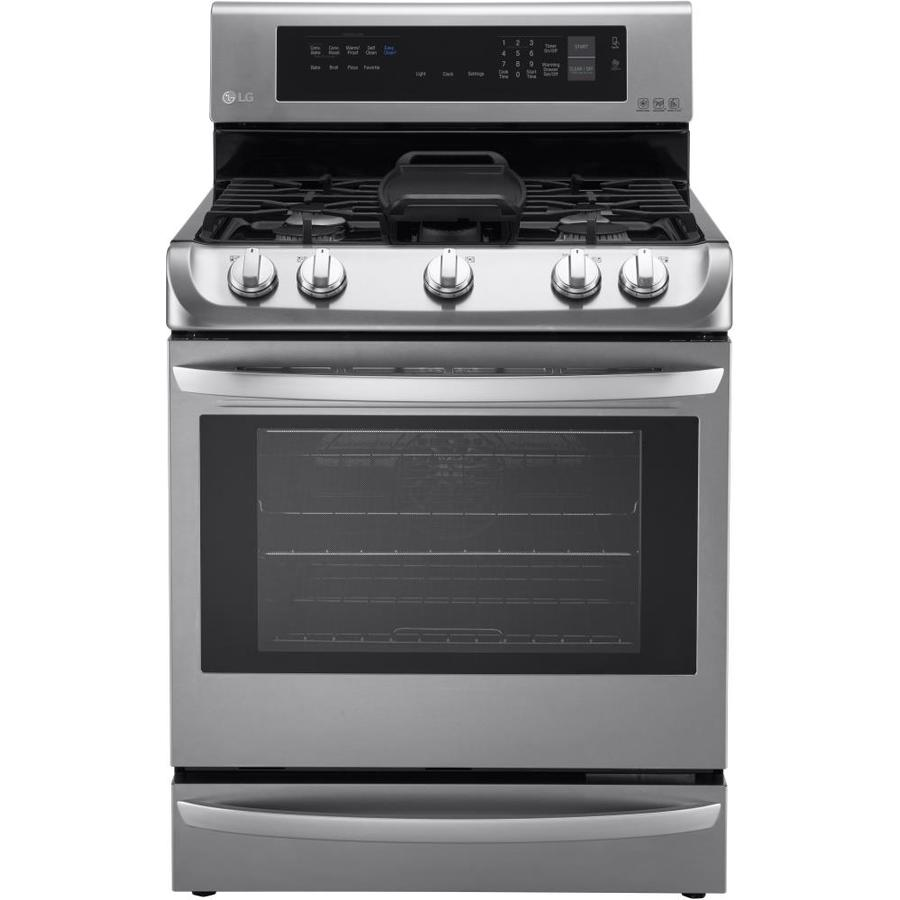 LG EasyClean 5-Burner Freestanding 6.3-cu ft Self-Cleaning Convection Gas Range (Stainless Steel) (Common: 30-in; Actual: 29.875-in)