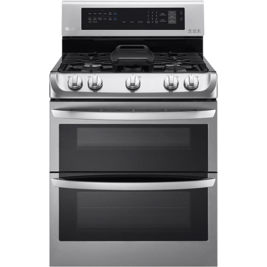 LG EasyClean 30-in 5-Burner 4.3-cu ft/2.6-cu ft Double Oven Convection Gas Range (Stainless Steel)