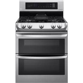 LG EasyClean 30-in 5-Burner 4.3-cu ft / 2.6-cu ft Self-Cleaning Double Oven True Convection Gas Range (Stainless Steel)