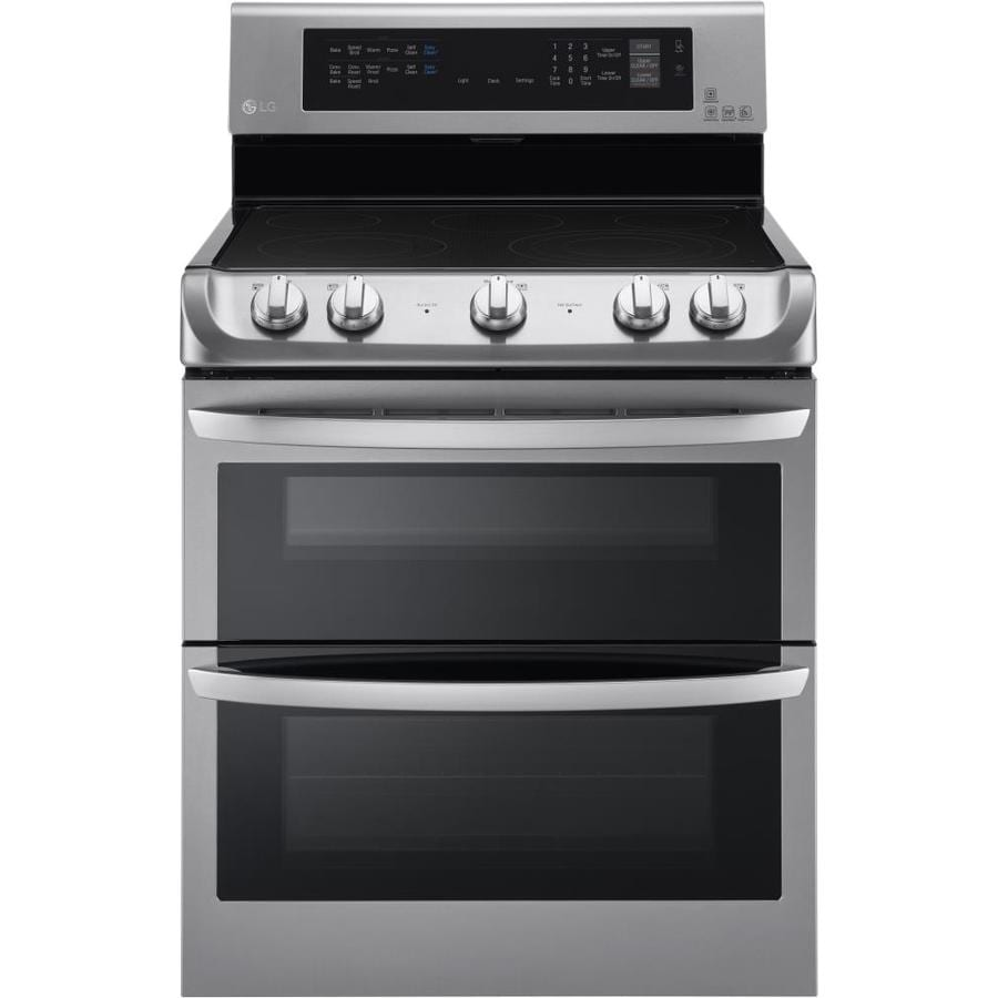 LG EasyClean 30-in Smooth Surface 5-Element 4.3-cu ft/3-cu ft Self-Cleaning Double Oven Convection Electric Range (Stainless Steel)
