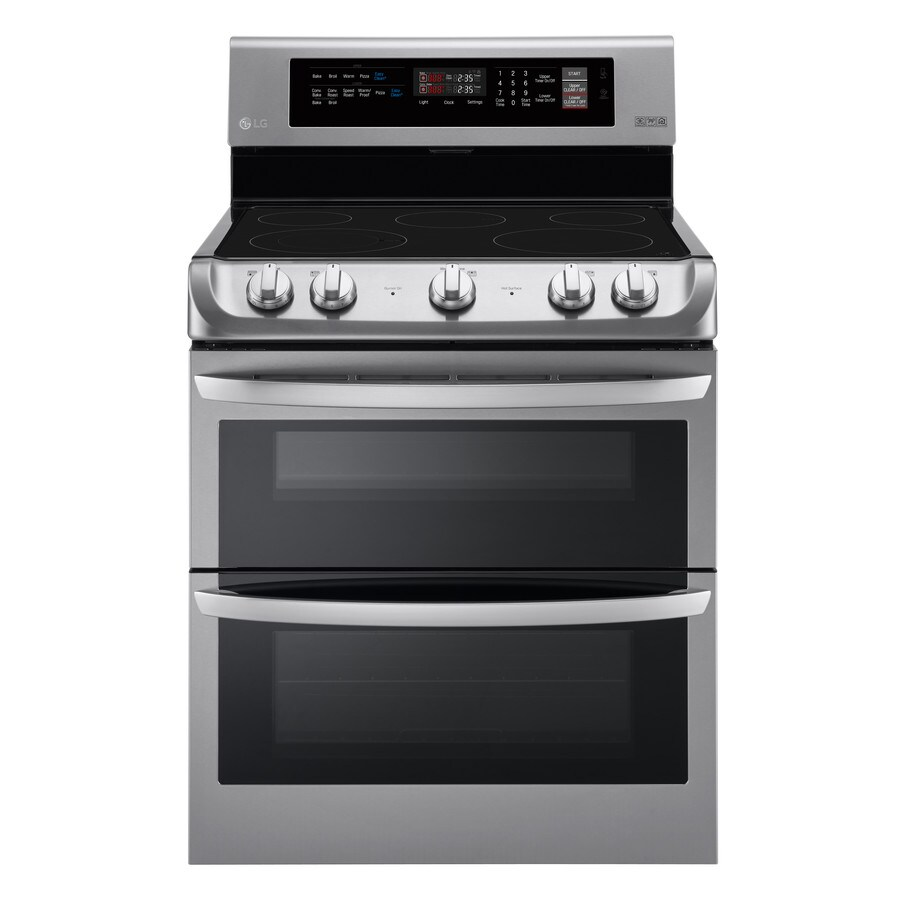 LG 30-in Smooth Surface 5-Element 3-cu ft/4.3-cu ft Self-Cleaning Double Oven Convection Electric Range (Stainless Steel)