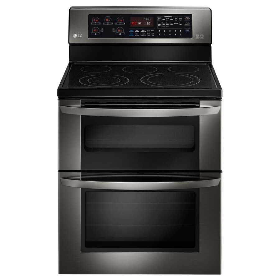 LG 30-in Smooth Surface 5-Element 4.4-cu ft/2.3-cu ft Double Oven Convection Electric Range (Black Stainless Steel)