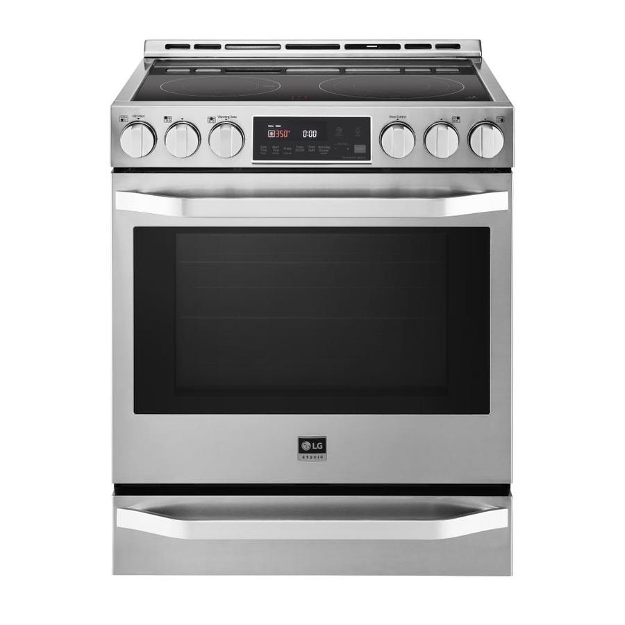LG Studio Smooth Surface 5-Element Self-Cleaning Slide-in Convection Electric Range (Stainless Steel) (Common: 30-in; Actual 29.9375-in)