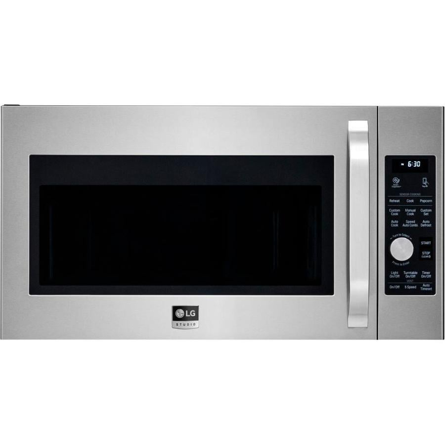 LG Studio 1.7-cu ft Over-the-Range Convection Microwave with Sensor Cooking Controls (Stainless Steel) (Common: 30-in; Actual: 29.9375-in)