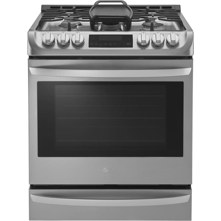 LG Easyclean 5-Burner 6.3-cu ft Slide-in Convection Gas Range (Stainless Steel) (Common: 30-in; Actual 29.875-in)