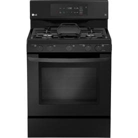 LG Easy Clean 5-Burner 5.4-cu ft Self-Cleaning True Convection Freestanding Gas Range (Fingerprint-Resistant Matte Black Stainless Steel) (Common: 30-in; Actual 29.9375-in)
