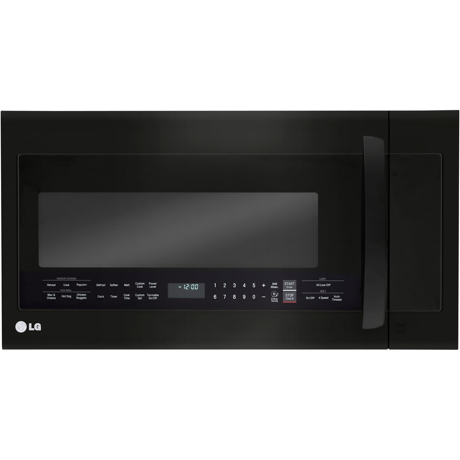 LG 2-cu ft Over-the-Range Microwave with Sensor Cooking Controls and Speed Cook (Fingerprint-Resistant Matte Black Stainless Steel) (Common: 30-in; Actual: 29.875-in)