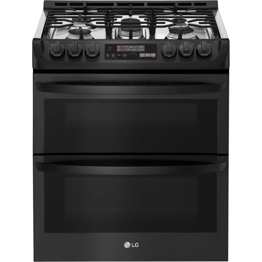 lg easy clean 5 burner 2 6 cu ft 4 3 cu ft self cleaning double oven convection gas range. Black Bedroom Furniture Sets. Home Design Ideas