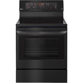 LG EasyClean Smooth Surface 5 Elements 6.3-cu ft Self-Cleaning Convection Freestanding Electric Range (Fingerprint-Resistant Matte Black Stainless Steel) (Common: 30-in; Actual: 30-in)