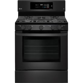 LG EasyClean 5 Burners 5.4-cu ft Self-Cleaning Convection Freestanding Gas Range (Fingerprint-Resistant Matte Black Stainless Steel) (Common: 30-in; Actual: 30-in)