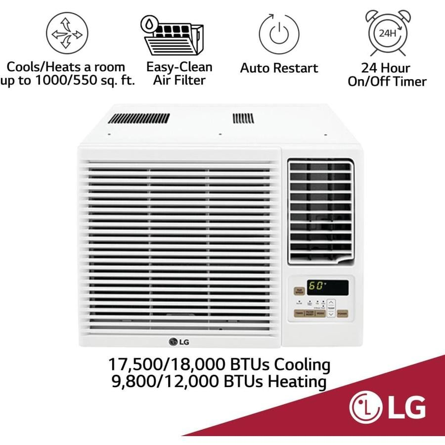 Lg 1000 Sq Ft Window Air Conditioner With Heater 208 Volt 18000 Btu Energy Star In The Window Air Conditioners Department At Lowes Com