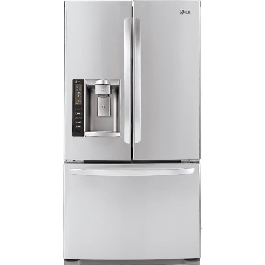 LG 19.8-cu ft 3-Door Counter-Depth French Door Refrigerator Single Ice Maker (Stainless Steel) ENERGY STAR