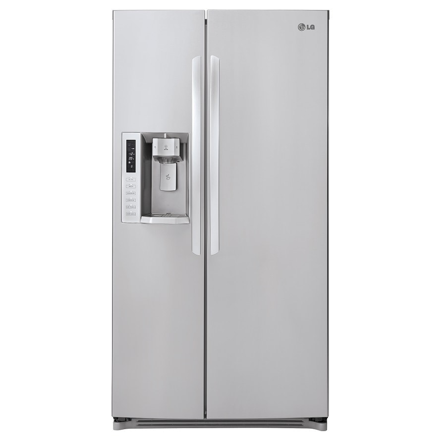 shop lg 23 5 cu ft side by side counter depth refrigerator with single ice maker stainless. Black Bedroom Furniture Sets. Home Design Ideas