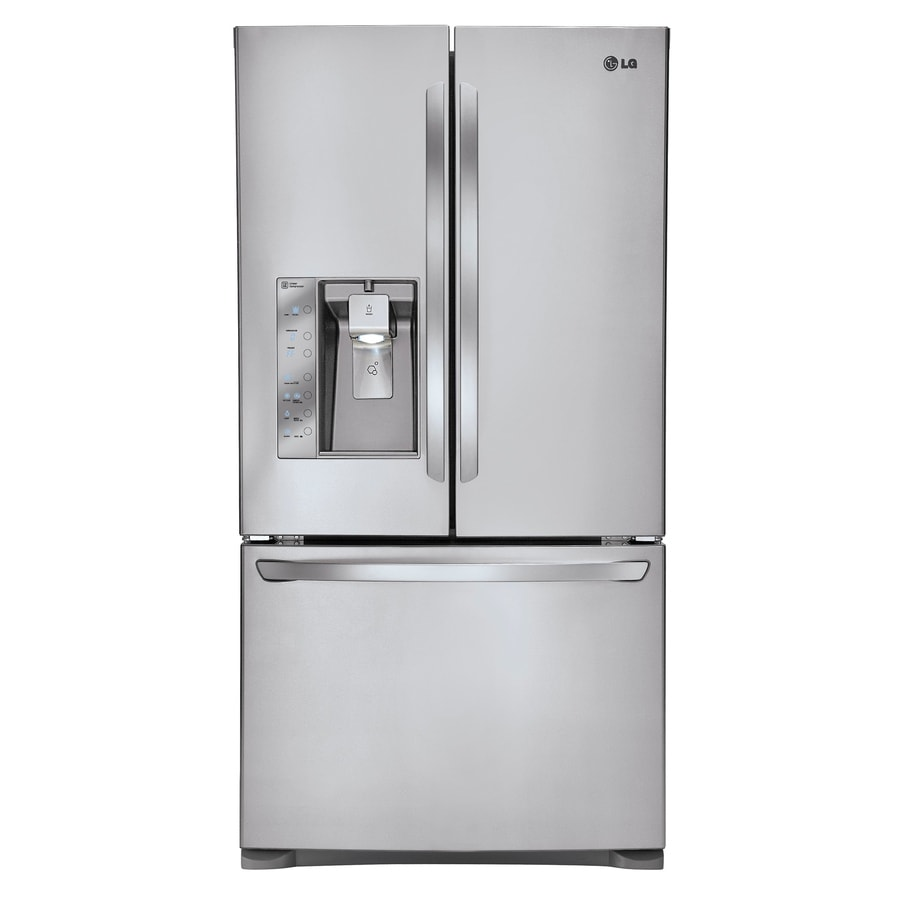 LG 24.5-cu ft Counter-Depth French Door Refrigerator with Ice Maker (Stainless Steel)
