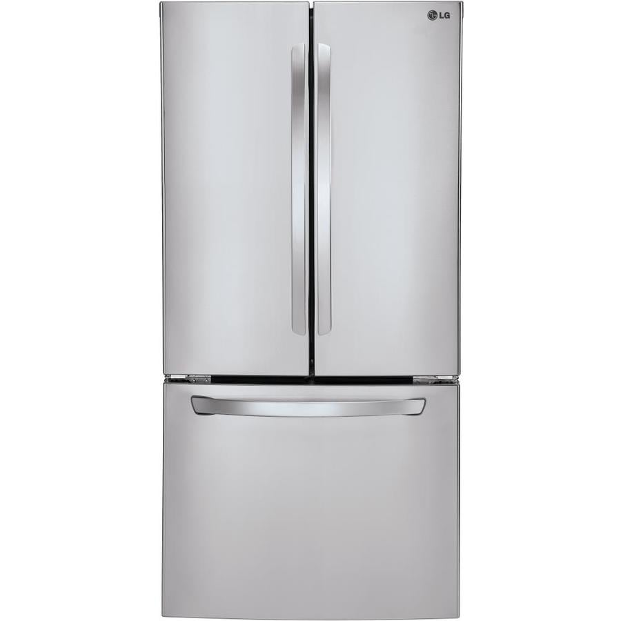 Shop Lg 23 6 Cu Ft French Door Refrigerator With Ice Maker