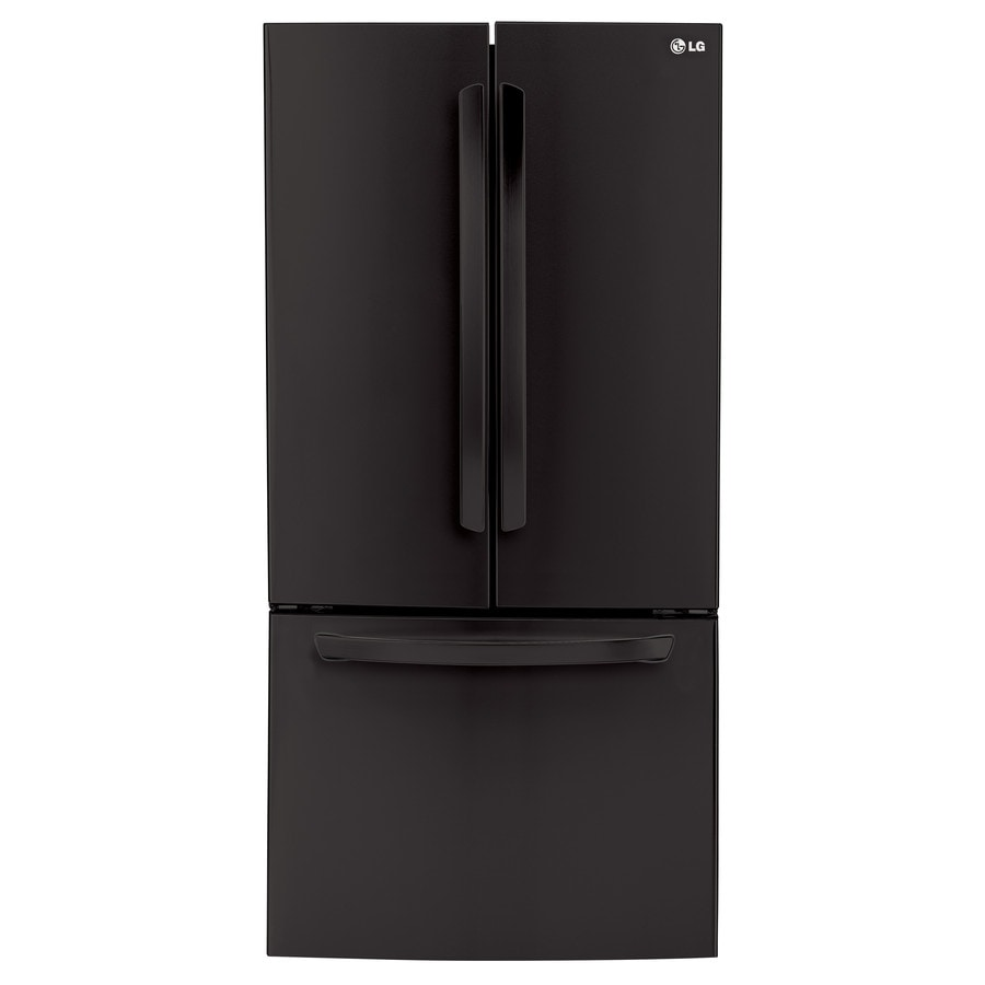 LG 23.6-cu ft French Door Refrigerator with Ice Maker (Smooth Black) ENERGY STAR