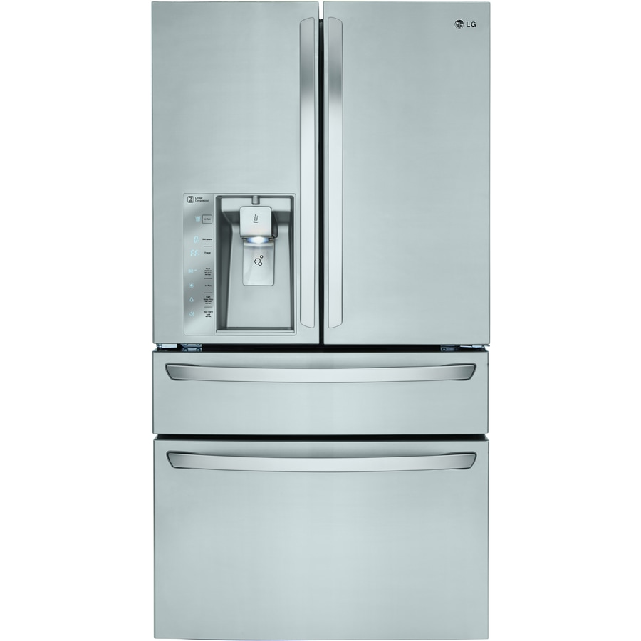 LG 22.7-cu ft 4-Door Counter-Depth French Door Refrigerator with Ice Maker (Stainless steel) ENERGY STAR